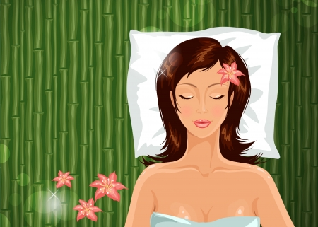 Girl during her spa session illustration  Vector