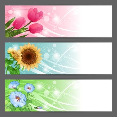 banner orizzontali: floral background banner illustrazione orizzontale
