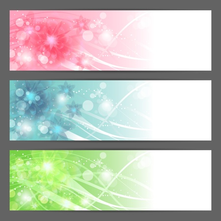 floral illustration background  Horizontal banner  Vector