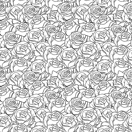 paper curl: Floral background with roses seamless pattern