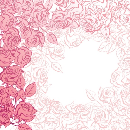 Floral background with pink roses illustration  Vector