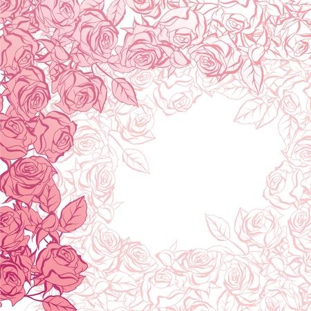 red rose bouquet: Floral background with pink roses illustration  Illustration