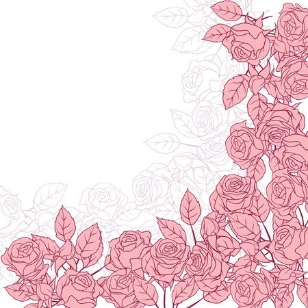 rose silhouette: Floral background with pink roses illustration  Illustration