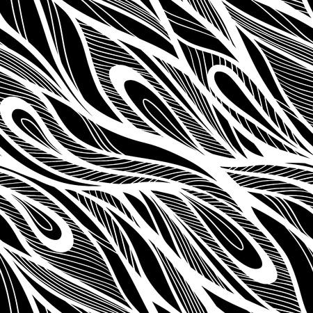 Naadloze abstracte de hand getekende patroon, golven achtergrond