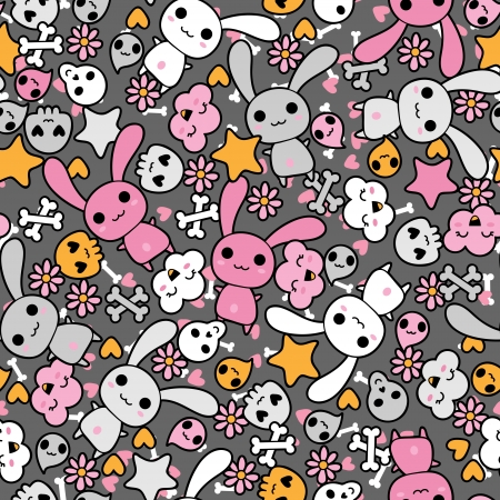 cool girl: Seamless pattern with doodle kawaii illustration