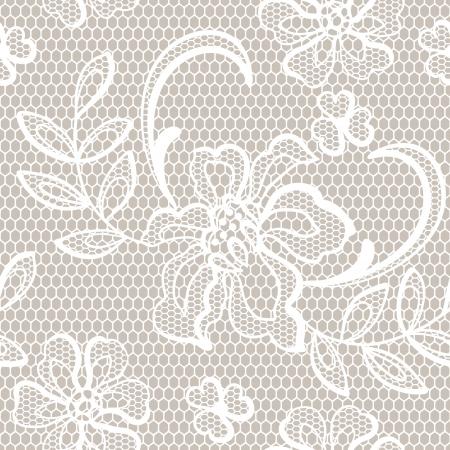 lace: Fondo antiguo de encaje, flores ornamentales textura Vectores