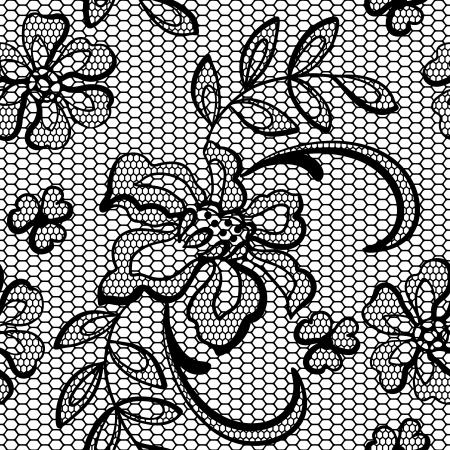 lace pattern: Old lace background, ornamental flowers texture  Illustration