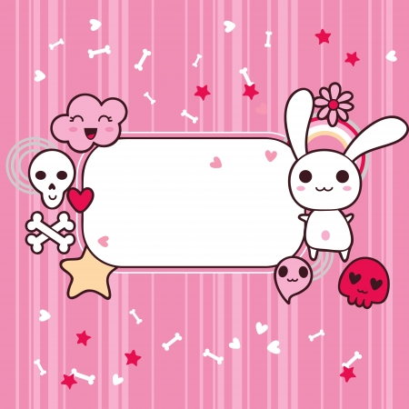 kawaii: Funny background with doodle kawaii illustration  Illustration