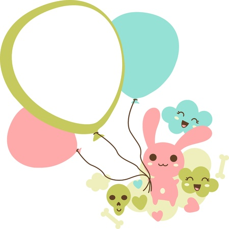 Funny background with doodle kawaii illustration  Vector