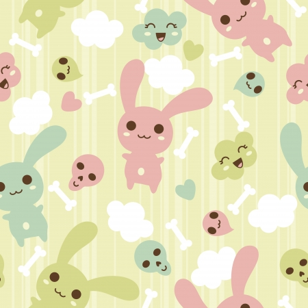 Seamless pattern with doodle kawaii illustration Stock Vector - 13711490