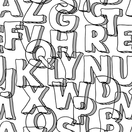 penman: Black seamless pattern with letters of alphabet  Illustration