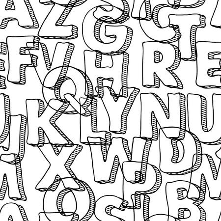garabatos: Modelo negro transparente con letras del alfabeto Vectores