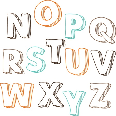 Cute hand drawn font letters set N-Z