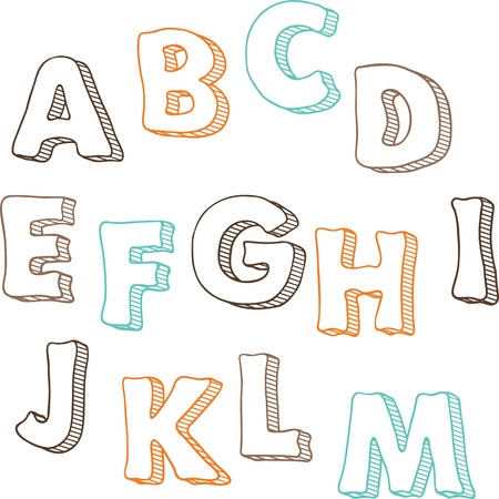 writing letter: Cute hand drawn font letters set A-M