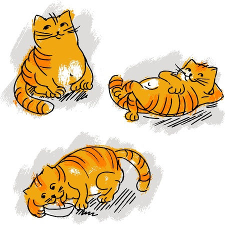 Collection of cute red cat Vector
