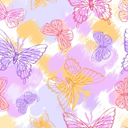 Butterflies  Beautiful background with a flower ornament  Vector