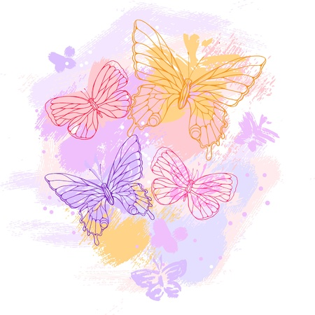Colorful grunge background with butterfly illustration  Vector