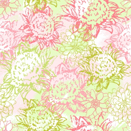 background with hand drawn flowers   Seamless Pattern Stock Vector - 13711586