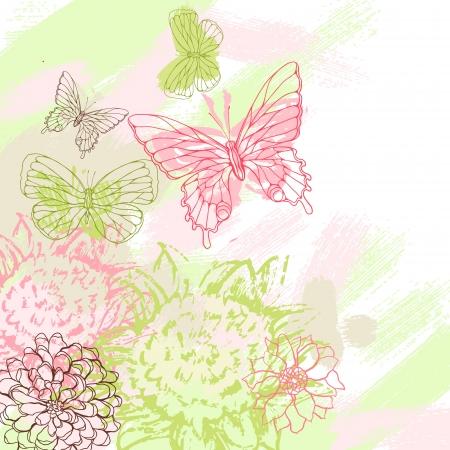 tekening vlinder: Kleurrijke grunge achtergrond met vlinder afbeelding