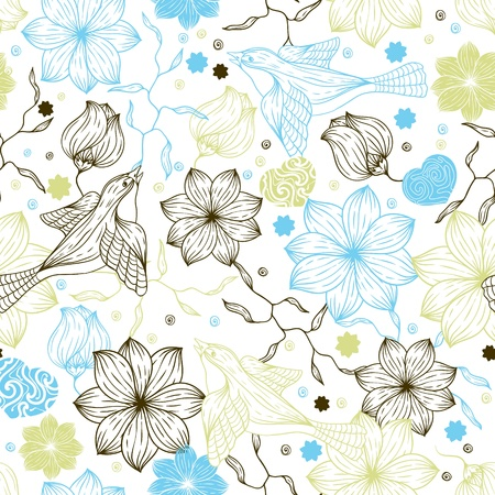 Retro seamless pattern with flowers and birds  Vector