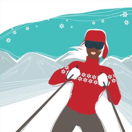 mountain skier: Glamour girl skiing, winter season sports  Illustration