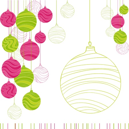 Vintage card with Christmas balls  Vector