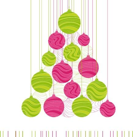 christmas greeting card: Vintage card with Christmas balls   Illustration