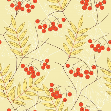 Seamless  background with rowanberry and leaves  Vector