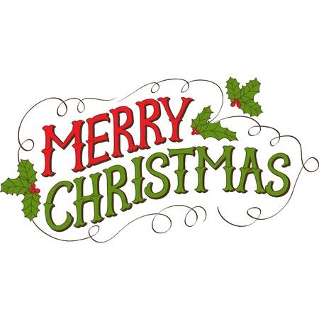 gui: Vintage Merry Christmas Card main dessin�e