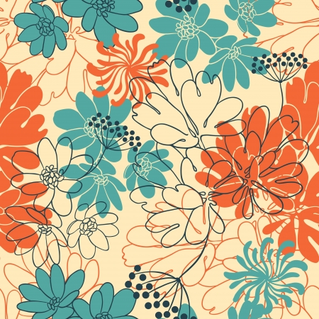 background with hand drawn flowers   Seamless Pattern  Stock Vector - 13811923
