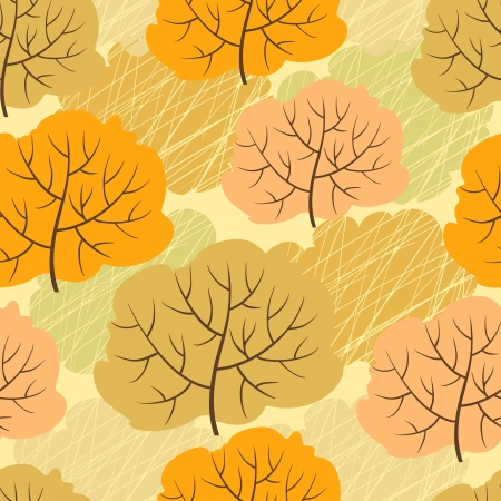 Seamless pattern with autumn trees  Vector illustration  Vector