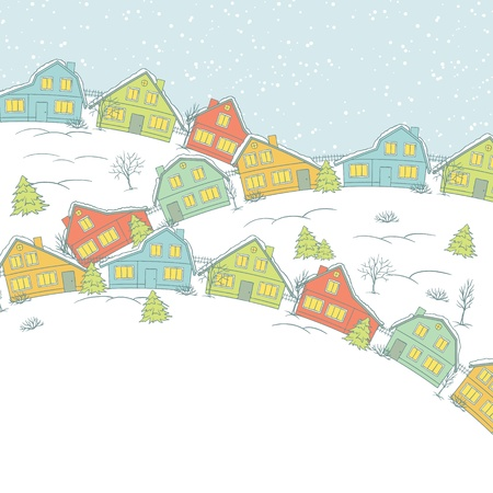 Christmas card, cute little town in winter Vector
