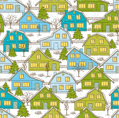 Seamless Christnas pattern with houses and trees in winter  Vector