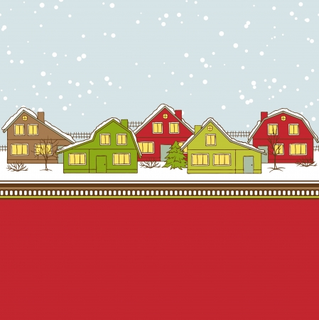 folk village: Christmas card, cute little town in winter Illustration