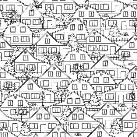Seamless  pattern with houses and trees  Stock Vector - 13811953