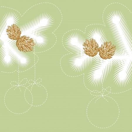 fur tree: Disegnato a mano di Natale albero di pelliccia per la progettazione di Natale con coni Vettoriali