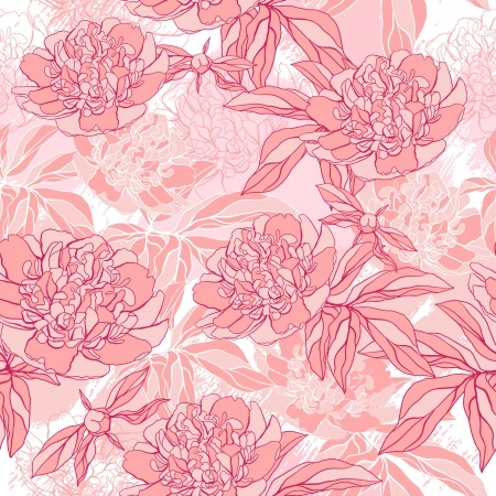 pattern with peony and foliage  Hand drawn illustration  Vector