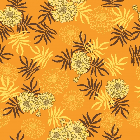 seamless pattern with flowers  Hand drawn illustration  Vector