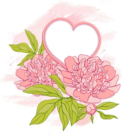 Card with peony on grunge background Vector