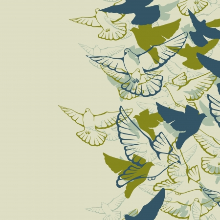 dove of peace: seamless pattern of a flock flying pigeons  Illustration