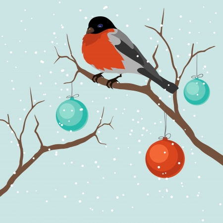 Bird on tree in Christmas   Vector
