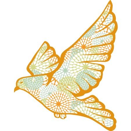paloma blanca: Dibujado a mano paloma hecha de patrón de flores Vectores