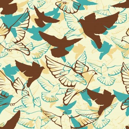 bandada pajaros: Vector patrón sin fisuras de una bandada volando palomas