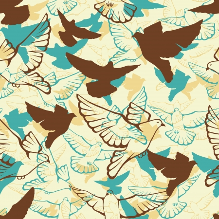 Vector seamless pattern of a flock flying pigeons  Vector