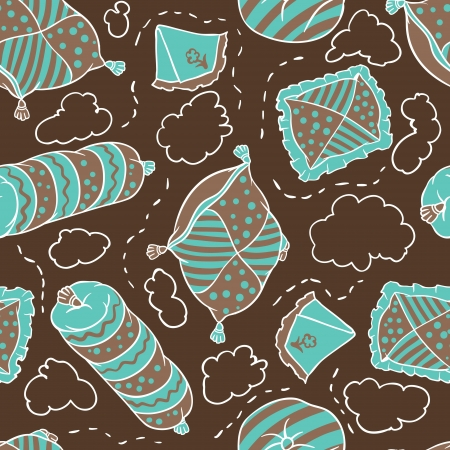 slumber: Seamless pattern from pillows hand drawn illustration  Illustration