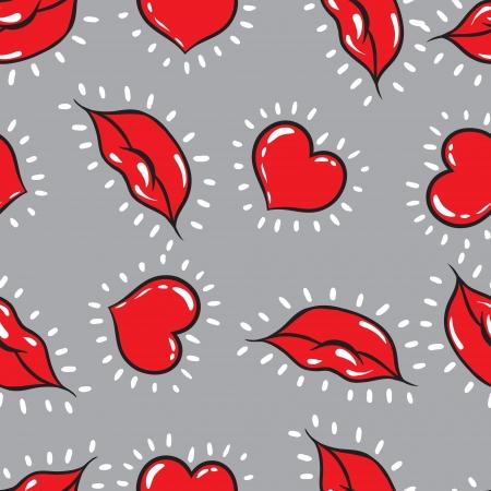 smooch: los labios y los corazones de fondo sin fisuras imprimir