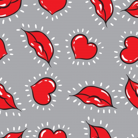 lipstick kiss: seamless background  lips  and hearts print