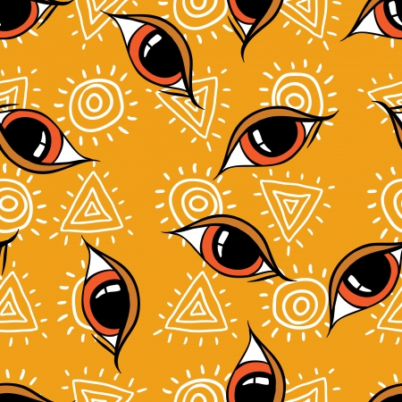 Seamless abstract hand drawn pattern, eyes background  Vector