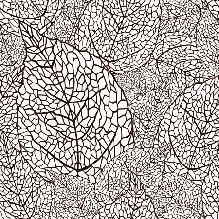 tegelwerk: illustratie van bladeren Naadloze stijlvol patroon