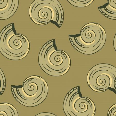 Seamless hand drawn texture of shells